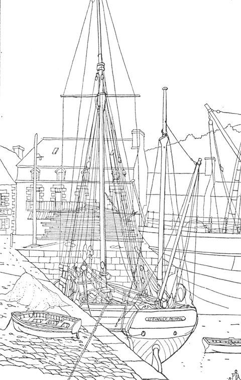 Le port de Perros, le long de la cale de la douane, appelée également cale Bitouse, le dundée de cabotage Servanick de Paimpol