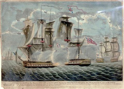 Dessin anglais contemporain illustrant ce combat (National Maritime Museum)