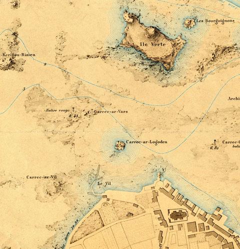 Le port du vil, extrait du plan de Roscoff de l'atlas des ports de France 1877