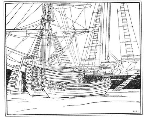 Saint-Malo armement des terre-neuviers les 11 doris du Gloire à Dieu sont prêt à embarquer