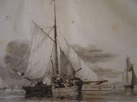 Le canot du cotre l'Écureuil à l'abordage d'un cotre de pêche anglais pêchant en fraude (Illustration de ka France Maritime 1853) les cutters fraudeurs anglais étaient certainement plus grand que celui-ci