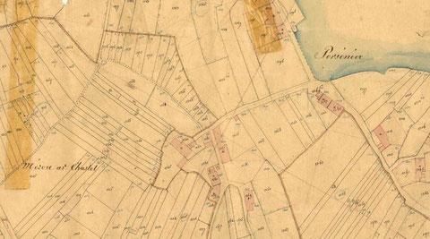 Cadastre de 1846, le quartier du Lannou , les champs iliens sont de minuscule parcelles, elle sont souvent compté en sillons