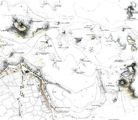 Carte du port de Roscoff en 1873, le fort de Bloscon est à droite