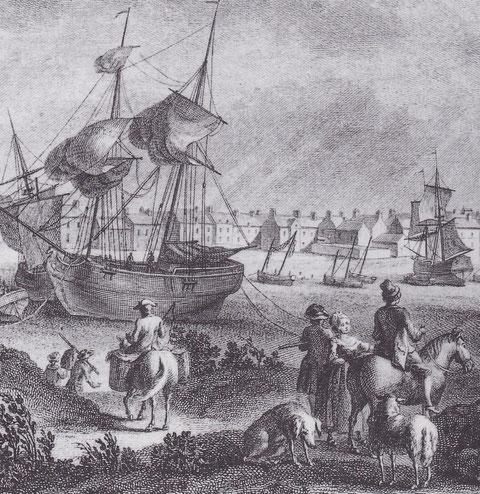 Port de Roscoff vers 1787 par Pierre Ozanne  «  vues des ports de France » Les deux bricks de cabotage sont semblables à ceux qui venaient de la Baltique