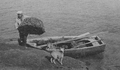Zantic de Trégastel débarque un casier de son canot, on voit l'aménagement du canot, le banc arrière forme une petite chambre et deux bancs traverse le canot, le mât est affalé et la voile est serré