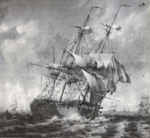 Réduction de voilure sous un grain à bord d'un vaisseau de 74 canons par pierre Ozanne