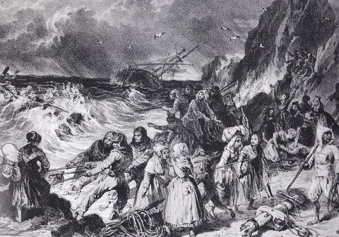 Scène de naufrage, sur la côte de Kerlouan, lithographie d'après un tableau Hippolyte Lalaisse