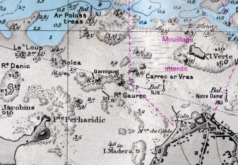 Extrait de la carte Shom 5838 montant le port du vil, Roc'h ar goret, Garniguel et Roléa