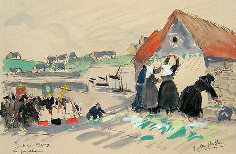 La procession, l'île de Batz de 1930 ressemble encore à celle de 1836, Yvonne Jean-Haffen