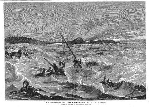 Le naufrage du Grand Casimir dessin de Nielsen parue dans le Journal illustré