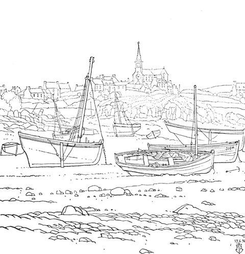 Île de Batz, Pors an eog, sloups et péniches à l'échouage