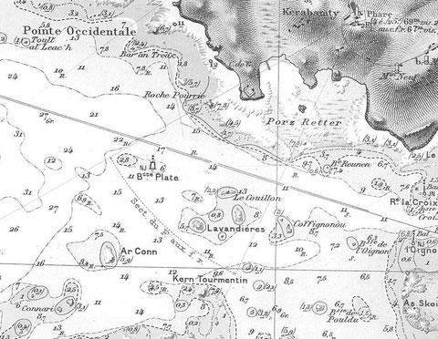 Ouest du chenal de l'île de batz , extrait de la carte marine SHOM5828 Les lieux du naufrage, le petit Counn est certainement la roche 3.1 noté Connari sur la carte, en 1907 la tourelle de la base plate n'existe pas