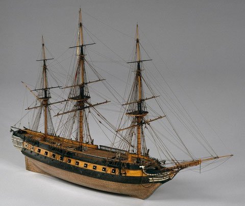 Flute également gabare La Normande,  1811 1824, (L'Égyptienne de 1811 à 1814) modèle d'époque réalisée par Heronnaux Pierre Etienne (Modèle te photos Musée de la marine Paris)
