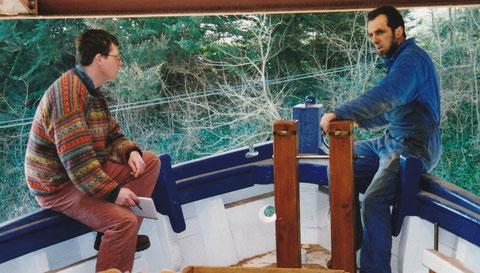 A bord D'Amzer Zo avec Yvon Clochet maitre charpentier de marine