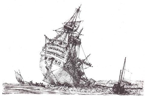Échouement du vaisseau de 110 canons le Républicain sur la roche Mingan dans le goulet de la rade de Brest , gravure de Pierre Ozanne