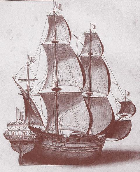Frégate marchande de la fin du XVII ème siècle