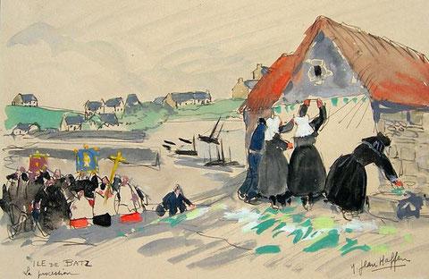 La procession à l'île de Batz , en remontant de Pors Kernoc'h vers le Vil  par Yvonne Jean Haffen dans les années 30