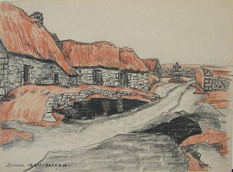 Les petites maisons de l'île de Batz étaient en 1836 couvertes en chaume,  sur ce dessin des années 1930, ces bâtiments sont devenus des granges, des étables ou des écuries
