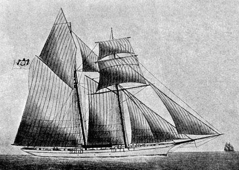 Le yacht princier Hirondelle  sous pavillon de Monaco, sont gréement est proche de celui des goélettes islandaises (coll musée de Monaco)