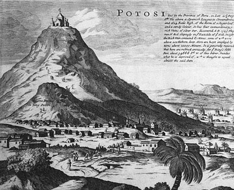 La montagne d'argent de Potosi, aujourd'hui en Bolivie