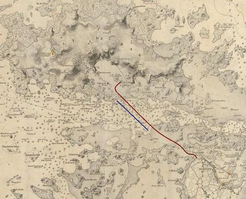 En rouge le trajet de la traversée à pleine mer un peut plus d'un mille en bleu le trajet à basse mer est de 800 m