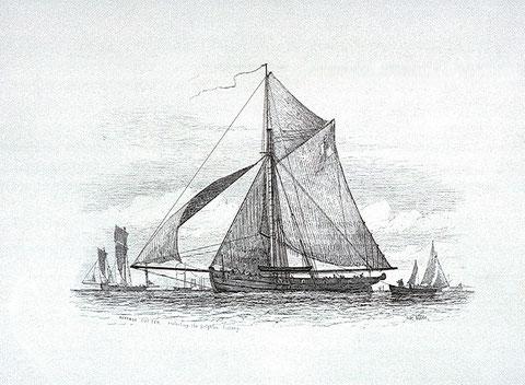 Cotre des douanes anglaise en 1849 gravure de Nibbs, Richard Henry, le Voltigeur était peu être proche de ce cotre (National Maritime Museum)