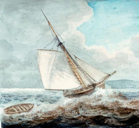 Ce tableau illustre bien le retour à Roscoff du cotre le Voltigeur avec le canot en remorque (Coll National Maritime Museum)