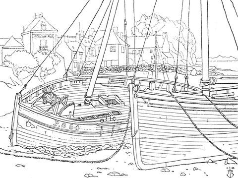 Port de Loguivy, épaves de langoustiers pontés, de nombreux détails, les chaumards en bois, le guindeau, la descende du poste, le panneau du vivier juste en arrière du mât, les cadènes de haubans protégées par une pièce de bois, les fileux