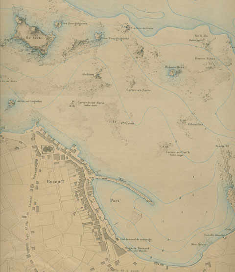 Port de Roscoff en 1878 (atlas des ports de France) en 1816 il était fort peu différent