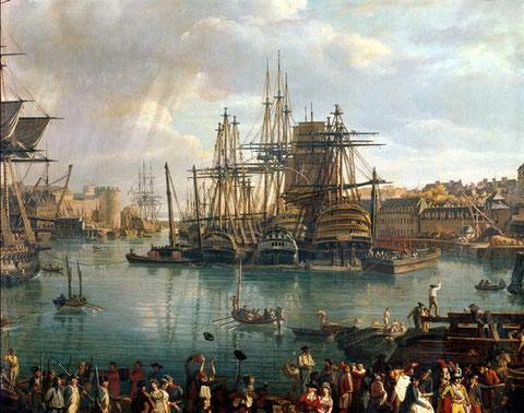 Le port de Brest en 1793 par J.F. Hue