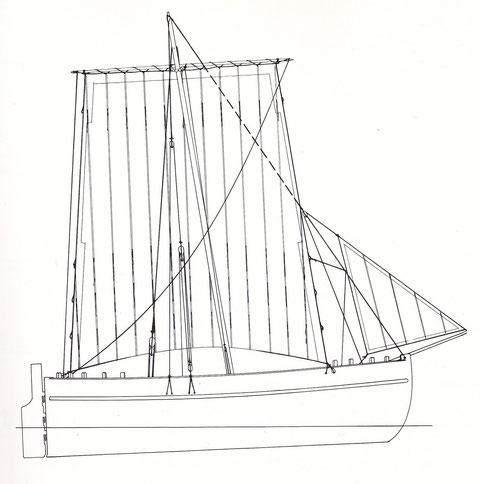 Plan du bateau de Lanvéoc d'après l'amiral Paris,  le gréement des gabares peut faire penser à une évolution de ce type de gréement très courant au  XVIIIème siècle
