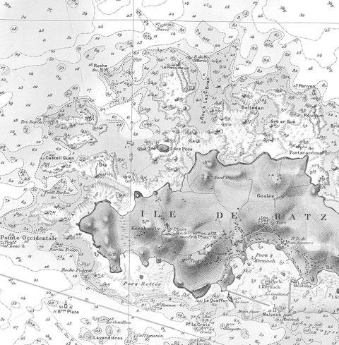 La goélette Pacifique a mouillé a proximité de l'île des prés (Enez ar Prat) un endroit vraiment mal pavé !