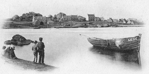 Le port de Ploumanac'h vu de Trégastel avant 1900 au premier plan la Renommée L636  construite en 1879 à Perros pour le Guern de Trégastel racheté par Lissillour de Ploumanac'h dépecée en 1900