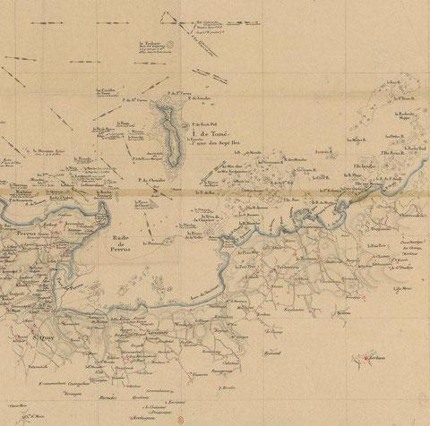 Carte manuscrite de la rade de Perros jusqu'au approches de Port-Blanc de la fin du XVIIIème, je n'ai pas identifié le rocher « Roc'h ar Squé » du coté de Louanec