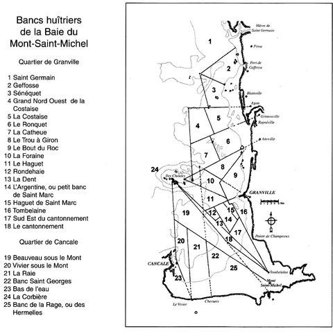 Cette carte publié dans la « Bisquines de Cancale et Granville » de Jean le bot représente les zone de drague au début du XXème siècle, en 1834, ces zones étaient plus limitées