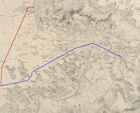 En rouge la dérive et le premier remorquage de la baleine depuis Toul ar Sarpant vers le nord de l'île de Sieck, en bleu un trajet possible du remorquage de la baleine par le sloup l'hirondelle