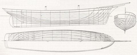 Plan des formes de l'Anémone, retracé par François Chevalier d'après un plan des archives du chantier Bonne