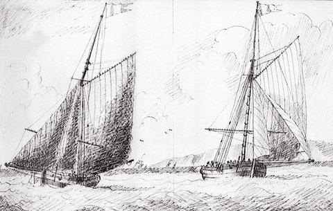 Le cotre de la douane Voltigeur ressemblait certainement à ces deux cotres anglais  (Eagles Edward Bamfylde National Maritime Museum)