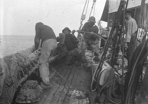 A relever le chalut, par beau temps à bord d'une bisquine de Granville (photographie Lucien Rudaux archives départementales de la Manche)