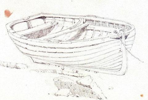Le canot de 14 pieds emprunté par le pilote Guyader pouvait ressembler à celui-ci le chantier Kerenfors de Roscoff construisait des canots à clin, à la mode anglaise (Dessin de Samuel Prout National Maritime Museum)