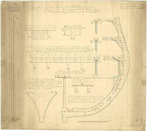 Détail de charpente d'un vaisseau de 74 canons anglais de 1818