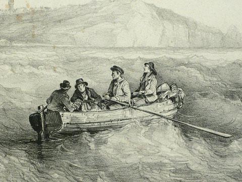 Deux capitaines et deux matelots dans un canot, rejoignent leur bord dans le clapot  (détail d'une gravure de Bernard Lemercier d'après une peinture de Ferdinand Perrot de 1840 )
