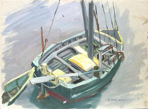 Un bateau carrelet, bien large ou voit bien le treuil, les deux haubans l'étai sur l'étrave et le pataras fixé sur le coté tribord du tableau (dessin de Yvonne Jean Haffen)