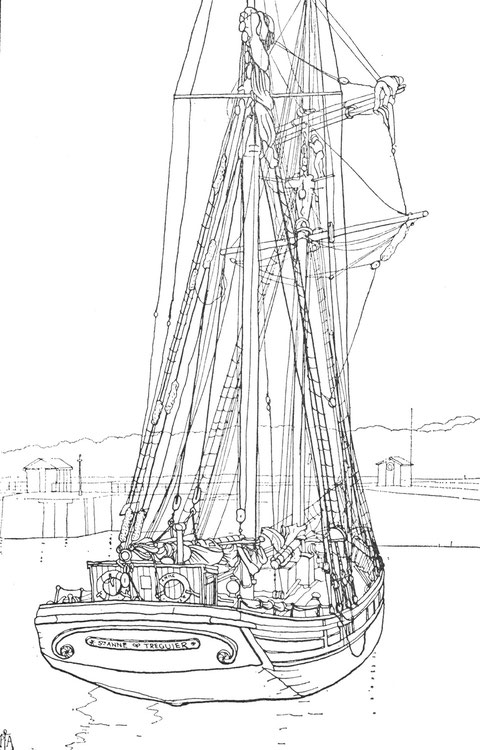 Dans le bassin de Paimpol ; la goélette St Anne du quartier maritime de Tréguier armée au cabotage. La St Anne, 195 tonnes de port en lourd,  construite en 1910, pour E. Paranthoën et Raimond