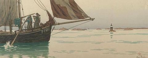 Gabare du Trieux plus ancienne que la précédente descendant l'estuaire par temps calme, ' hommes et un mousse tirent sur deux grand avirons à l'avant du bateau peinture d'Henri Rivière