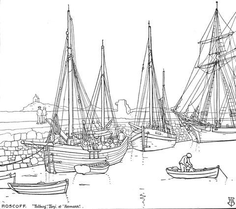 Le vieux môle de Roscoff les dundée Talberg, et Tony et la goélette Hermann, une des dernière a être armée au cabotage en Bretagne Nord, Ces caboteurs sont de la presqu'île de Pleubian  Le chargement des oignons à la planche