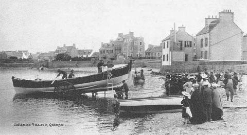La mise à l'eau du canot de sauvetage, Armand Béhic  9,78m construit en 1867 au Havre aux chantiers Augustin Normand, il porte le N°4 de la série