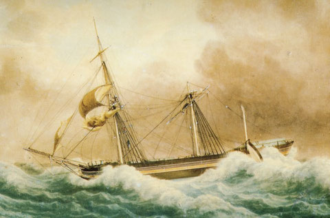 Aquarelle de Fréderic Roux,  le trois mât-carré Charlemagne de 442 tonneaux 37,8m lancé en 1828, partiellement démâté en atlantique le 28 janvier 1838 et fuyant vent arrière