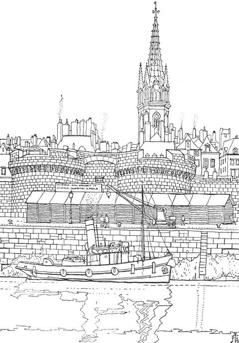 Saint-Malo, remorqueur dans l'avant port