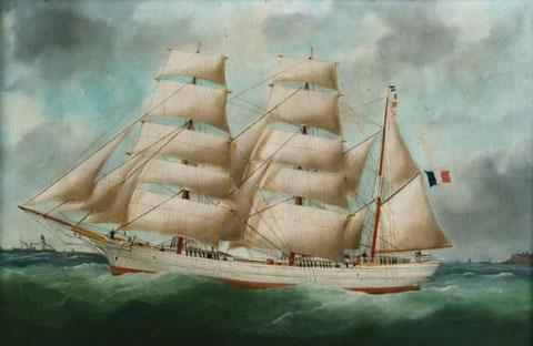 Le « Maurice pouvait ressembler à ce  trois-mâts Nantais en bois le « Némésis » construit en 1875 longueur 33,7m bau 7,5 m creux 4,45m jauge totale 294 tonneaux (peinture d'Edouard-Marie Adam)